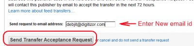 Confirm the Feedburner account transfer screenshot