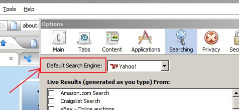 flock change default search engine in search bar