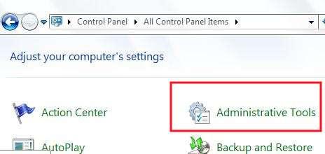 ftp iis windows7 settings - locate administrative tools