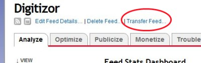 feedburner transfer feed screenshot
