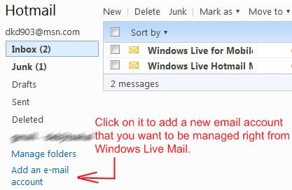 windows live mail add new email account
