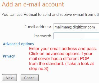 windows live mail enter email account details