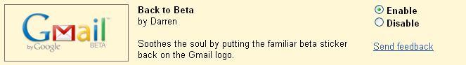 Beta logo back on gmail