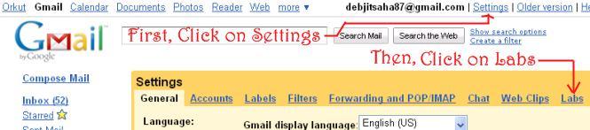 Gmail settings labs