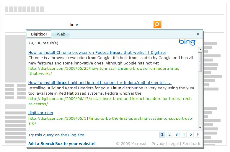 The Bing Search Results popup right inside your webpage