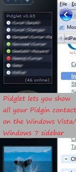 Pidglet Sidebar gadget allows you to see all your contacts in Pidgin IM right inside the Sidebar