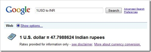 exchange rate google
