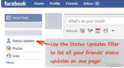 facebook show all status updates on one page