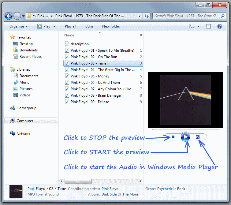 Audio Preview in Windows 7