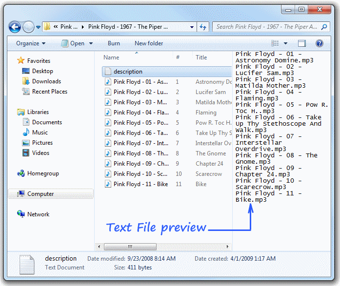 Preview Text files in Windows 7