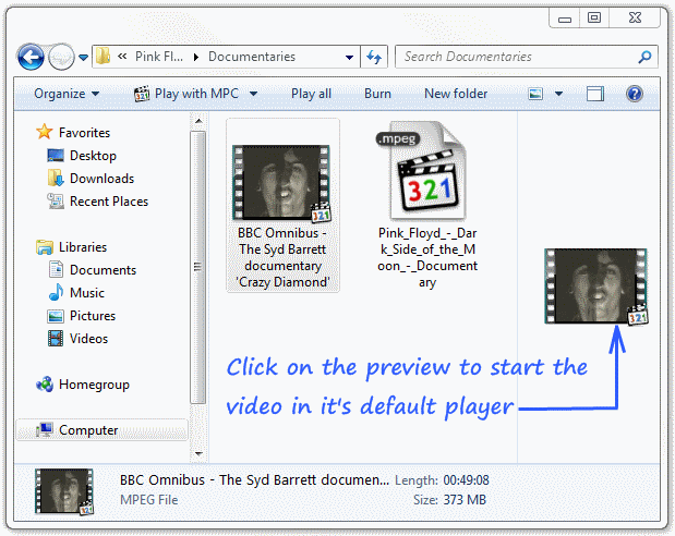 Video previews in Windows 7