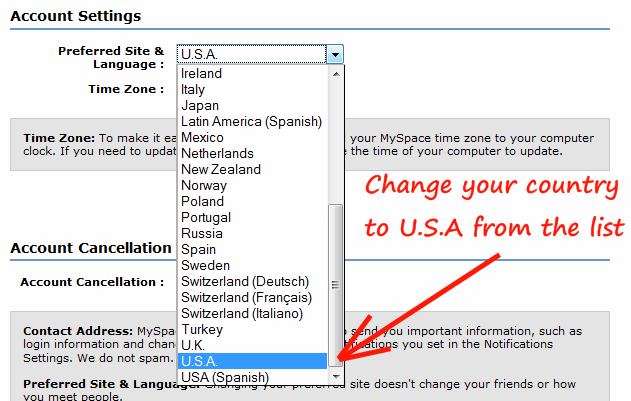 Change country to U.S.A