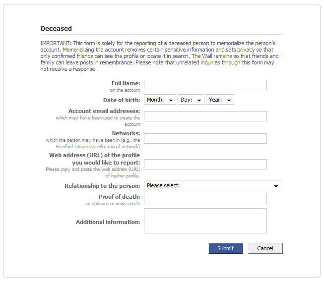 facebook deceased notification form