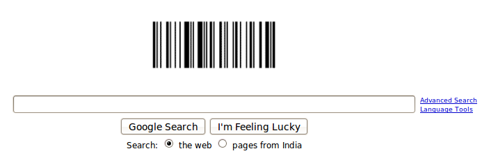 Google logo replaced by Barcode