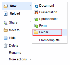 googledocs create folder