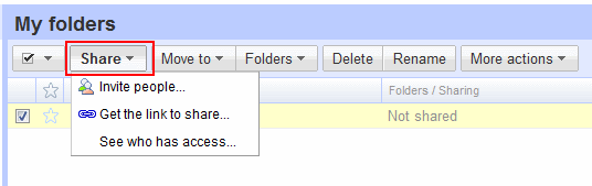 googledocs share folder