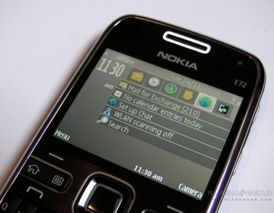 Nokia E72 with push email