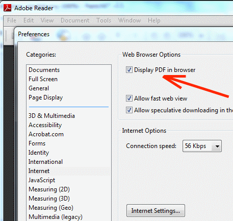 adobe acrobat display pdf browser
