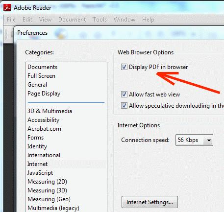 adobe acrobat display pdf browser