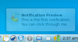 If you bring the cursor over it, the notification fades and if there is anything clickable underneath, you can click it.