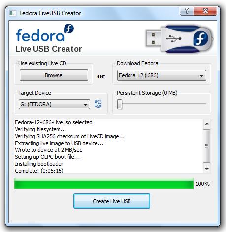 Fedora 12 live usb creator - make a bootable F12 USB disk
