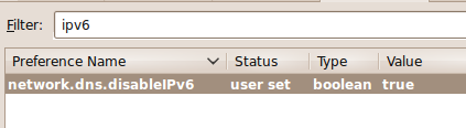 disable ipv6 from firefox