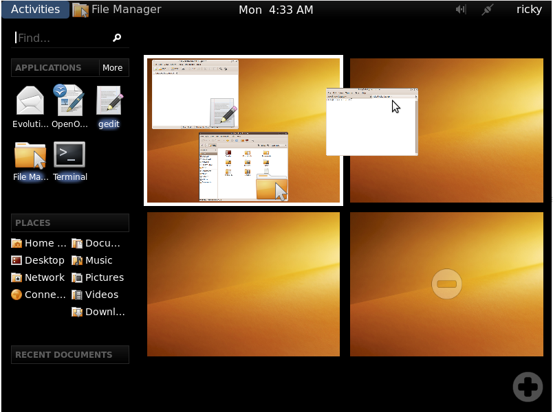 Tour visual de GNOME Shell