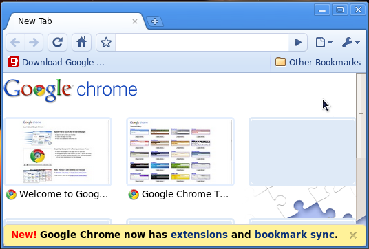 google chrome in fedora screenshot