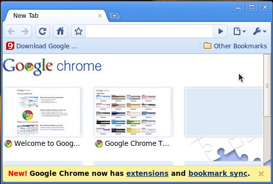 google chrome in fedora screenshot
