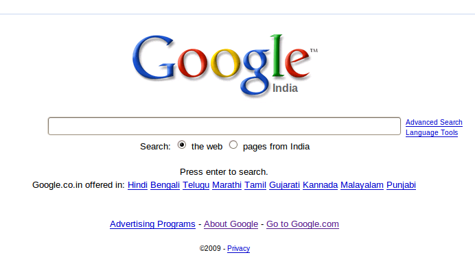 no search button in google search india