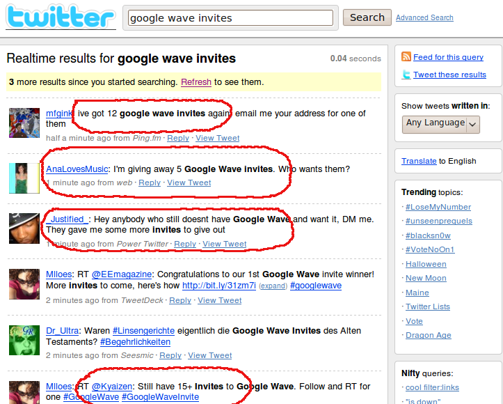google wave invites twitter