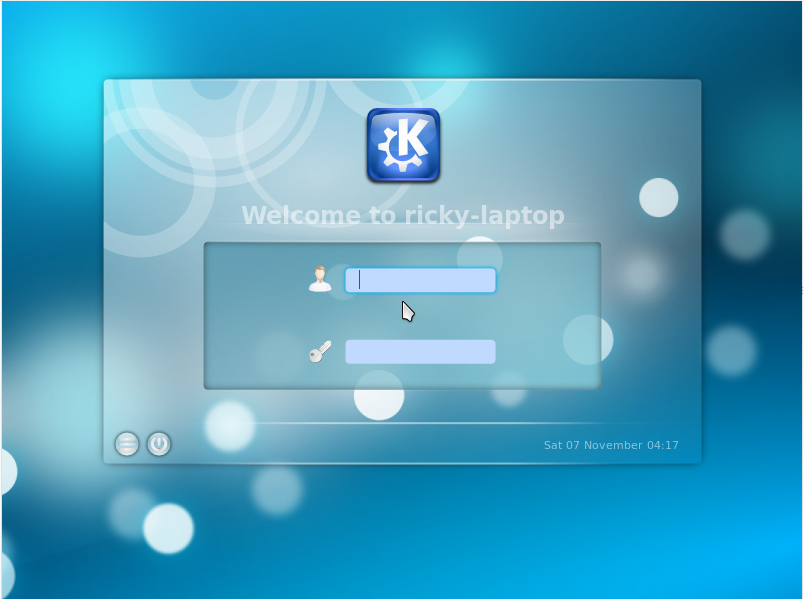 The login screen. It is also the same as that of Kubuntu Desktop.