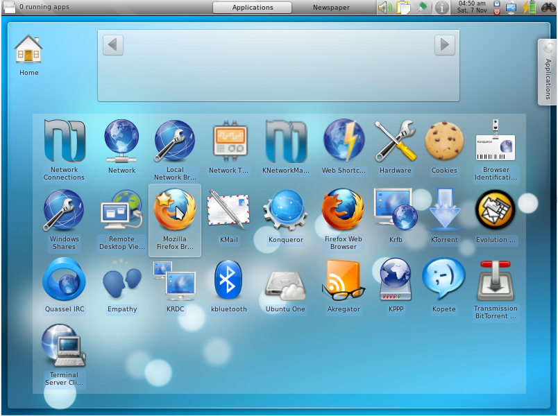 And this is the settings. The Gnome applications are separately installed