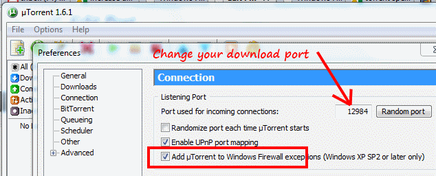 windows7 change torrent download port
