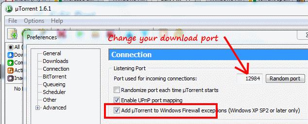 windows7 change torrent download port