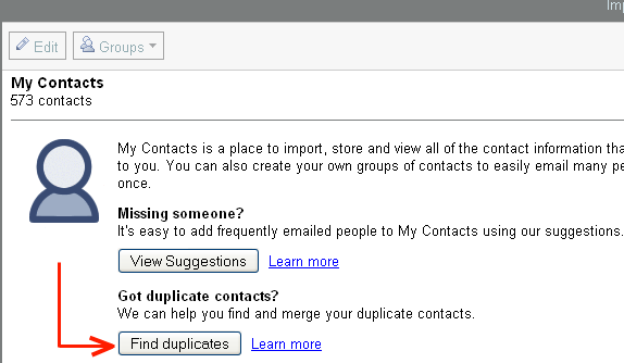 gmail merge contacts button
