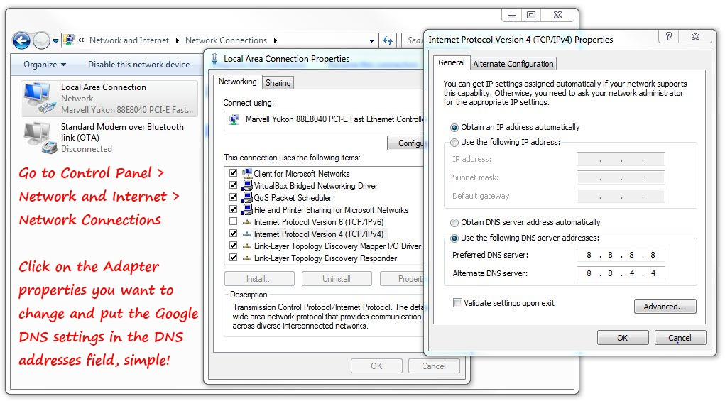Configuring Google DNS in Windows 7