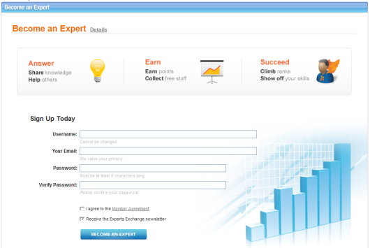 Registration Page of the Expert Exchange forum