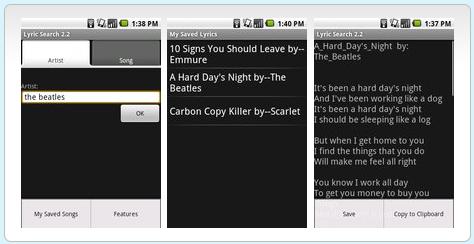 Lyrics Search Nexus One