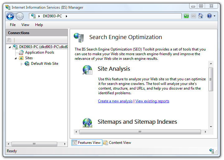 IIS SEO Toolkit Menu