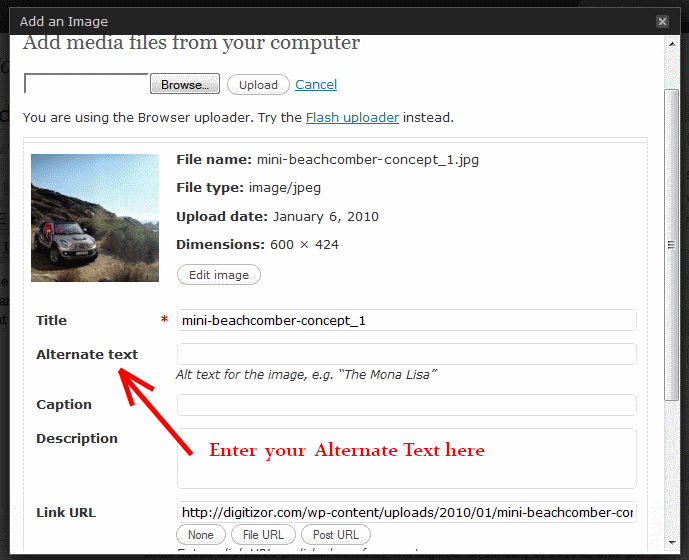 Alternate Text for images in WordPress new Versions