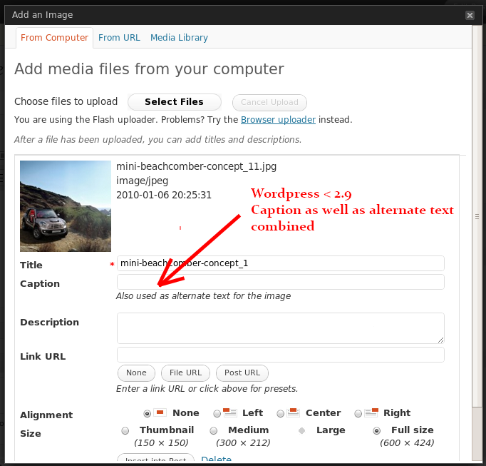 Combined field for entering Alternate Text & Caption - before WordPress 2.9