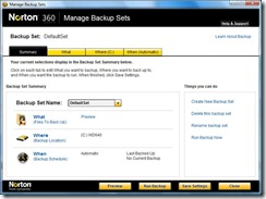 Manage Backup Sets