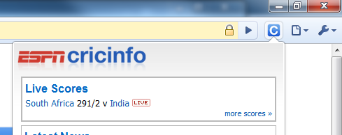 Google Chrome Cricinfo Extension for Live Cricket scores in Chrome Dashboard