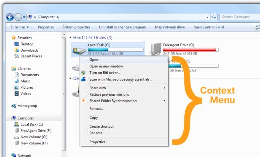 Context Menu in Windows 7