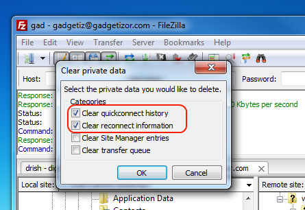 Filezilla Clear Private Data