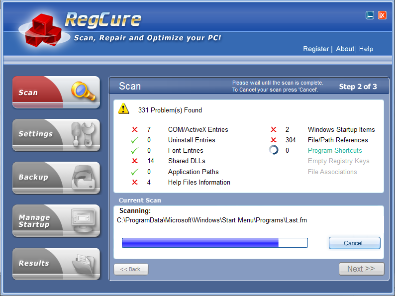 RegCure - Registry Cure and repair tool for windows