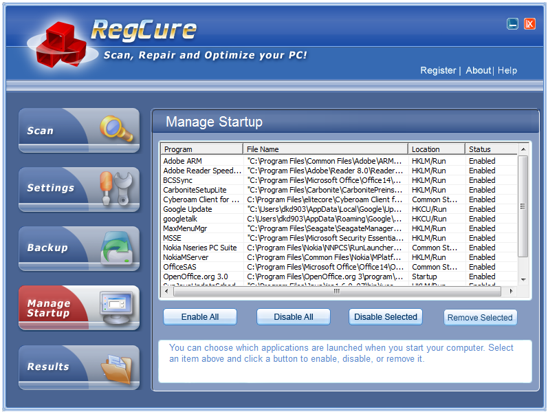 RegCure manage startup applications