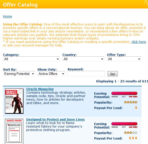 RevResponse Offer Catalog