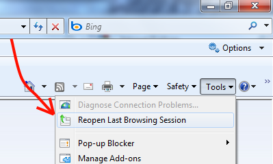 Internet Explorer: Reopen Last Browsing session